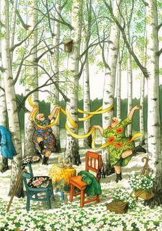 In a small village in Finland lives the world-famous artist-illustrator Inge Löök. Inge Look - pseudonym of the artist, real name Ingeborg Lievonen. Old Lady Humor, Look Older, Beltane, Norman Rockwell, Whimsical Art, Old Women, Old Ladies, Getting Old, Illustrators