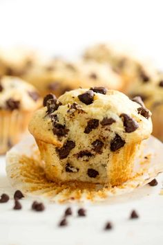 These Easy Chocolate Chip Muffins are just like mom used to make! The batter comes together in just minutes for an easy muffin that's perfect for breakfast or brunch. #thestayathomechef #chocolatechipmuffins #muffinrecipe #chocolatechip #breakfast #easybreakfast #brunch