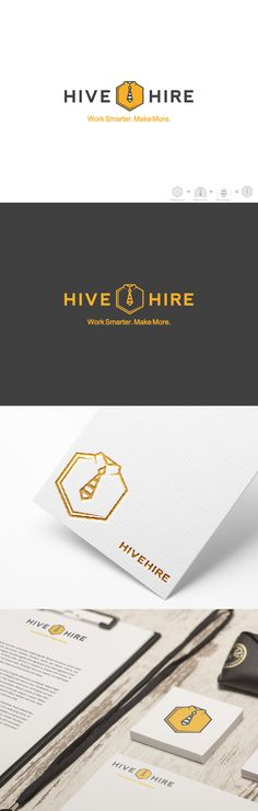 This is a logo design concept for HiveHire. I pulled inspiration from a honeycomb, shirt + tie and bee stripes. Logo Inspiration, Presentation, Logo Design, Branding Ideas, Concept, Slc, Logos, Creative, How To Make