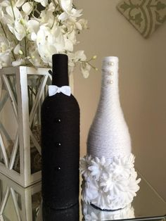 bottle crafts rustic Bride and Groom Wine Bottles - Bridal Shower Decor - Wedding Decor - Newlywed Gift - Engagement Gift - Wine Themed - Wine Lovers - Rustic Glass Bottle Crafts, Wine Bottle Art, Painted Wine Bottles, Glass Bottles, Vodka Bottle, Bridal Shower Rustic, Bridal Shower Gifts, Wedding Wine Bottles, Bridal Shower Centerpieces