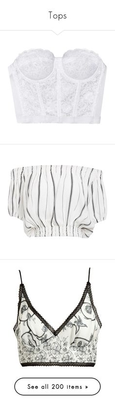 """""""Tops"""" by isthelastofus ❤ liked on Polyvore featuring tops, shirts, crop tops, lingerie, white top, crop top, white lace bustier, floral lace top, floral tops and crop"""
