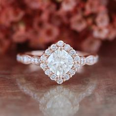 e23b31c0aa Items similar to Kite Set Moissanite Engagement Ring 14k Rose Gold Halo Diamond  Ring 6x6 Cushion Forever Brilliant Moissanite Scalloped Diamond Wedding  Band ...