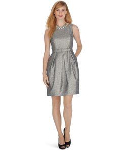 Sleeveless Metallic Tulip Belted Dress