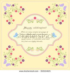 Greeting card floral butterfly Lettering Vector illustration