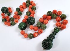 RARE Antique Chinese Carved Spinach Jade & Coral Court Prayer Bead Necklace