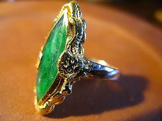 #Antiques #Gifts Antique Vintage Chinese Jade 22K Gold Ring Size 8.5 A True Gem #Collectors