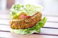 A delicious veggie burger made with fresh peas, vegetables and lentils and enhanced with delicate spices. Salmon Burgers, Lentils, Vegetarian Recipes, Spices, Fresh, Vegetables, Ethnic Recipes, Food, Spice
