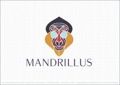 Logo for sale: Prestigious and modern design of an elegant and strong mandrill baboon face created with abstract colorful geometrical shapes that form the frontal view of a mandrill's face.