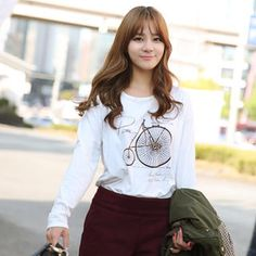 Buy 'CLICK – Bicycle Print Long-Sleeved T-Shirt' with Free International Shipping at YesStyle.com. Browse and shop for thousands of Asian fashion items from South Korea and more!