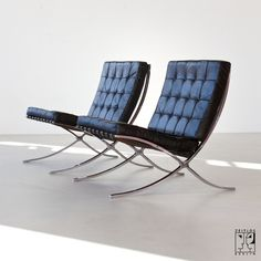 We just brought a replica Barcelona chair Mies van der Rohe - www.emfurn.com https://emfurn.com/collections/dining-chairs