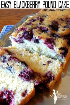 This Blackberry Pound Cake is so easy to make and is delicious. It will make a great, quick dessert to serve with coffee. You could sprinkle with powdered Food Cakes, Cupcake Cakes, Cupcakes, Pound Cake Recipes, Easy Cake Recipes, Yummy Dessert Recipes, Blackberry Cake, Blackberry Desserts Easy, Pastries