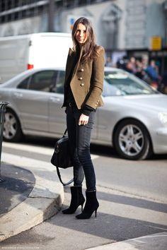 black booties, street style, brunette, military jacket, black leather, model off duty, beauty