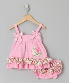 This Pink Flower Ruffle Swing Tunic & Diaper Cover - Infant is perfect! #zulilyfinds