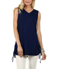 Another great find on #zulily! Navy Blue Sleeveless Tunic by Aster #zulilyfinds
