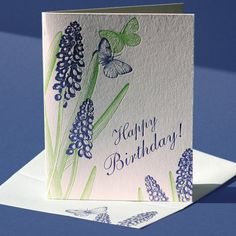 Letterpress printed in fresh spring green and ultraviolet blue-purple on white paper, this birthday card is blank inside for your personal, handwritten greeting.    This card is also available as a blank note. $5