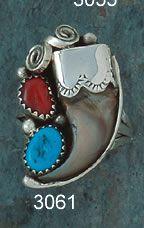 Ring-  - Bear Claw- Turquoise And Red Coral- On Sterling Silver- Navajo Made-   Review the Tribal Impressions Bear Claw Jewelry Collection off of: http://www.indianvillagemall.com/jewelry/bearclaw.html