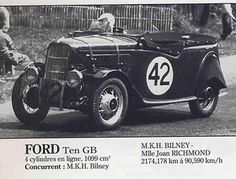 LE MANS 1937 -  FORD Ten GB  #42 -  M. K. H. Bilney - Joan Richmond