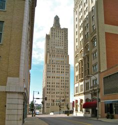 Iconic landmark of Kansas City, the art deco Power and Light Building, built in 1931.  The top pillar has changing color lights at night.  photo by Regina K.