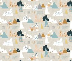 Mountain Peaks fabric by nouveau_bohemian on Spoonflower - custom fabric Deer Fabric, Woodland Fabric, Woodland Nursery Girl, Fabric Swatches, Custom Fabric, Spoonflower, Pattern Design, Craft Projects, Quilts