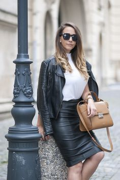 White Turtleneck: Zara Marc Jacobs Watch Zara Leather Skirt Bag: YVY Bags Choies Cut Out Boots