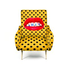 A must-have statement piece for those who dare...  The design is brought to you by Seletti Wears Toiletpaper; which combines surreal genius and black humour. Toiletpaper Magazine was founded in 2010 as a picture-based magazine and its images have gradually been used beyond the pages in the likes of homeware, clothing and more. These armchairs are beautifully eccentric and are a design feature in their own right.  The bold printed upholstery is finished off with shiny metal feet to ad...