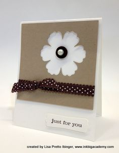 handmade card ... kraft on white with black embellishments ... like the use of the negative space left by the Blossoms punch ... clean lines too ... Stampin' Up!