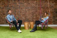 One-two swing chars in the collaboration area. [The amazing swing chairs are from Michele Varian and made of recycled fibers. Office Interior Design, Office Interiors, Agency Office, Innovative Office, New York Loft, Cool Office, Office Ideas, News Space, Industrial Office