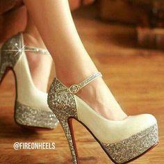 Shiny White Heels @fireonheels