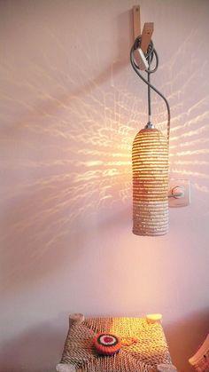 Lampe de raphia naturel avec câble textile par lacasadecoto sur Etsy