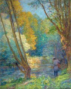 Fly Fishing - Robert Vonnoh (American, 1858-1933) Impressionism
