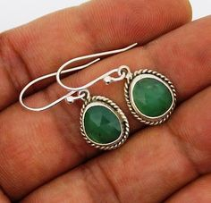 Chrysoprase earrings Silver 925 Sterling Jewelry natural gemstone handmade 2.7 g