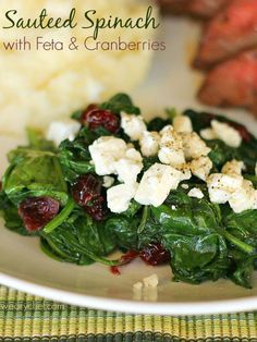 Sauteed Spinach with Feta and Cranberries - This quick side dish is just right for busy nights or special occasions.