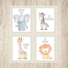 Safari Nursery Art Animal Paintings Baby Animal Prints Animal Watercolor Childrens Wall Decor Kids Room Elephant Giraffe Zebra Lion Set of 4: