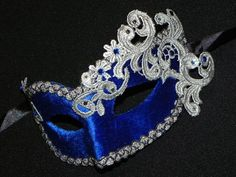 Masquerade Mask in Blue and Silver with by TheCraftyChemist07, $30.00