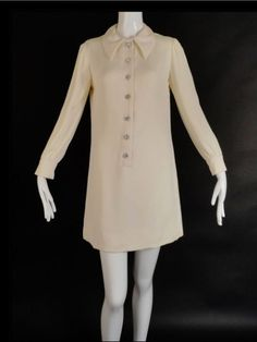 Vintage 60's Ivory Mini Dress Winter White by PopcornVintageByTann