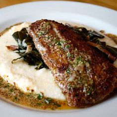 5 Spot (Chow Foods) Pecan Crusted Rocfish - Pacific rockfish filet dredged in panko & pecans then pan-seared & finished with creole mustard vinaigrette. Served with bacon studded collards and cheddar grits.