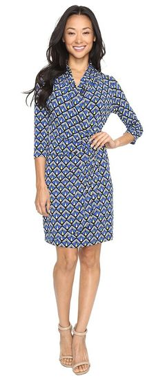 Karen Kane 3/4 Sleeve Cascade Wrap Dress (Print) Women's Dress - Karen Kane, 3/4 Sleeve Cascade Wrap Dress, 4L91307-960, Apparel Top Dress, Dress, Top, Apparel, Clothes Clothing, Gift, - Street Fashion And Style Ideas