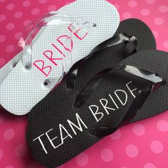 181ad909befce Bride and Team Bride Flip Flop Labels