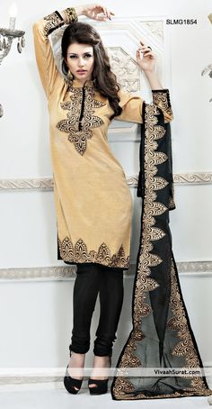 Fawn Jute Silk Churidar Kameez  |  ITEM CODE SLMG1854  |  INR,  5,575/-  |