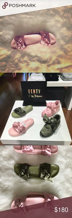 Authentic Rihanna Fenty Authentic Rihanna Fenty bow slides.                                                Purchased 3/9/17Receipt AvailableA beautiful satin bow adorns the slide strap, with a satin foam backing for comfort. Sure to be a hit for those who loved the Fur Slides from 2016.  Features  Satin Bow constructed on strap Satin Foam Backing FENTY PUMA BY RIHANNA emblazoned on footbed Product runs large. Half sizes available only. If you're normally a 7.5, order a 6.5; If you're…