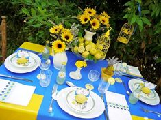 sunflower themed blue and yellow table Down syndrome awareness colors - so happy and friendly just like the blessings of those with Ds who enrich our lives.