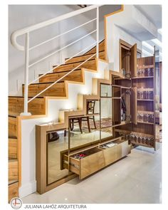 35 Awesome Storage Design Ideas Under Stairs Staircase Storage, Stair Storage, Staircase Design, Basement Storage, Office Storage, Under Stairs Storage Solutions, Kitchen Under Stairs, Home Interior Design, Interior Decorating