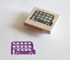 Tripple Decker Purple Bus Hand Carved Stamp.