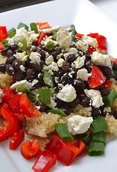 10 minute meal! Quinoa Black Bean Salad with Feta Cheese, Peppers, and Onion! So good the flavors are perfect together!   tough lip stick