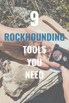 Here are the top rockhounding tools that are available today. We've narrowed the list down to the best tools you should add to your rockhounding tool kit. These 9 geology tools include rock hammers and jewelers loupe's, but also many more. Rocks And Gems, Rocks And Minerals, Rock And Roll, Rock Tumbling, Fossil Hunting, Rock Hunting, We Will Rock You, Metal Detecting, Earring Display