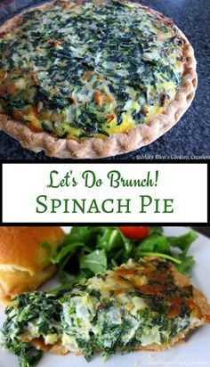 Spinach Pie - perfect for brunch! Spinach and eggs with mozzarella and parmesan cheeses, all baked in a pie crust. Brunch, lunch, dinner or brinner!