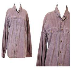 Purple 90s Mens Oversize Shirt Faded Grunge Tartan Collar Button up Grunge 80s   #YarraTrail Oversized Shirt, Tartan, Online Price, Up, Grunge, Duster Coat, Shirts, Shirt Dress, Ebay