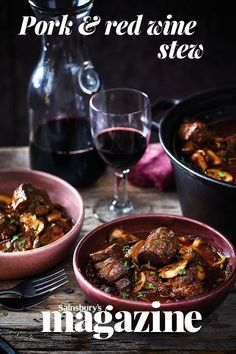 This pork and red wine stew with porcini and chestnuts recipe is hearty and super-satisfying. Use a gutsy red wine such as Cabernet Sauvignon to stand up against the robust flavours of pork and porcini. Serve with creamy mashed potatoes. Pork Recipes, New Recipes, Yummy Recipes, Recipies, Cooking Recipes, Yummy Food, Chestnut Recipes, Meals Under 500 Calories, Creamy Mashed Potatoes