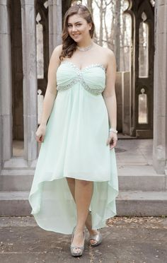 Deb Shops #mint plus size strapless chunky stone high low #prom #dress with jewel accent