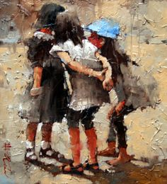 "Andre Kohn Sold Works « Andre Kohn Fine Art. French Gossips. Oil, 11"" x 10"""